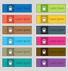 train icon sign Set of twelve rectangular colorful vector image