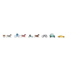 Transport evolution from horse carriage to car vector