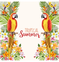 Tropical flowers parrot bird tropical background vector