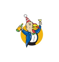 Turkey Celebrating Wine Party Hat Cartoon vector