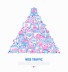 Web traffic concept in triangle vector