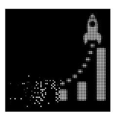 white dissolved pixel halftone rocket business vector image