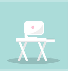 white monitor on wood table with crossed legs vector image