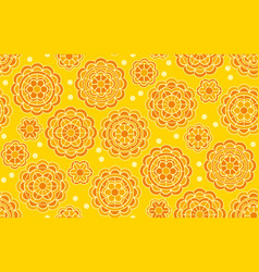 yellow geometric floral pattern in indian style vector image