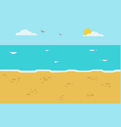 beautiful beach with wave and sky background vector image vector image