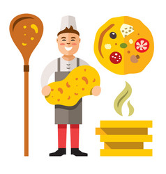 cook pizza flat style colorful cartoon vector image vector image