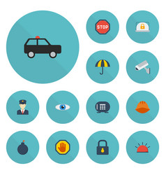 flat icons siren lock armored car and other vector image vector image
