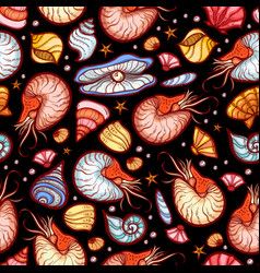 nautilus and shell seamless pattern vector image vector image
