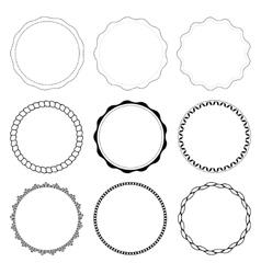 Set of 9 circle design frames vector image