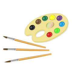 palette with paints and brush isolated on white vector image