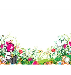 popart floral background with emo kid vector image