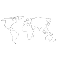 World map outline royalty free vector image vectorstock simplified black outline of world map divided to vector image gumiabroncs Choice Image