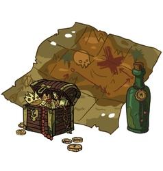 cartoon flat Treasure Map vector image
