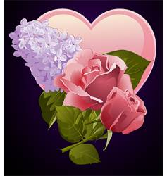 floral and heart design vector image vector image