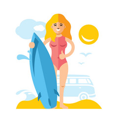 girl with surfing flat style colorful vector image vector image