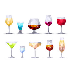 set of triangle alcoholic glasses vector image vector image