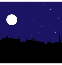Silhouette of town at night vector image