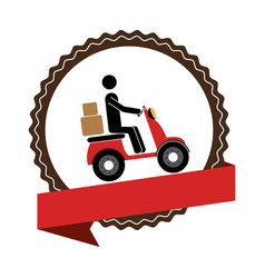 circular emblem with ribbon and delivery man in vector image