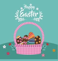 happy easter basket egg decoration flower vector image