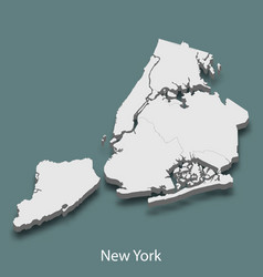 3d isometric map of new york is a city of united vector