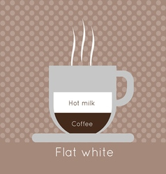 A cup of coffee with steam with hot milk vector