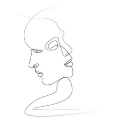 abstract face one line vector image