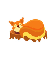 adorable squirrel sleeping on tree stump small vector image