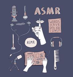 Asmr concept elements set vector