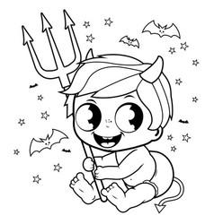 baby boy in halloween devil costume vector image
