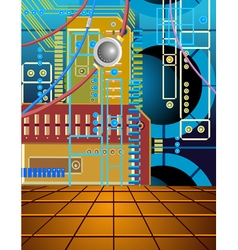 background wall of the microcircuit and wires vector image