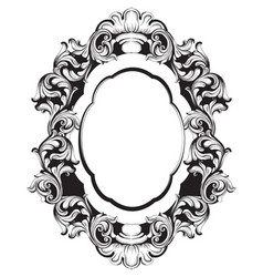 baroque mirror frame line art french vector image