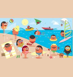 beach landscape cartoon vector image