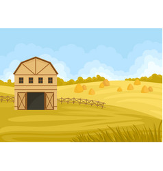 Beige barn in a field with a haystack vector