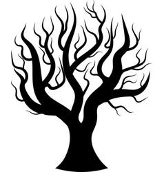 black silhouette bare tree vector image