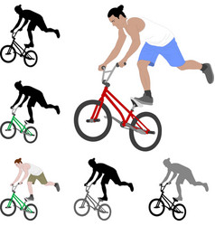 Bmx stunt bicyclist silhouette and color vector