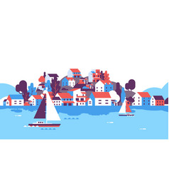 Boats over beach seaside island houses hotels vector