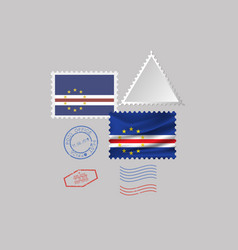Cape verde flag postage stamp set isolated on vector