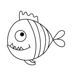 Cartoon piranha vector image