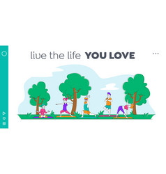 characters outdoor yoga activity landing page vector image