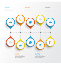 climate flat icons set collection of bow vector image