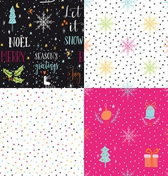 Collection of hand drawn winter holidays seamless vector image