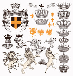 Collection of vintage styled heraldic objects vector