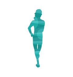 colorful abstract effect icon running woman vector image