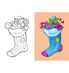 Coloring Book Of Christmas Sock With Candies vector image