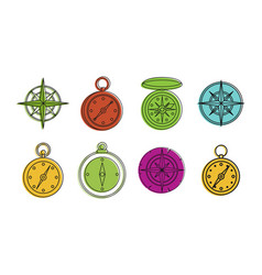 Compass icon set color outline style vector