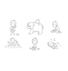 Cute cartoon baby playing with toys and a dog vector