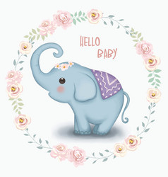 Cute little elephant vector