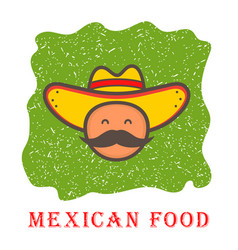 cute mexico man face in national sombrero hat vector image