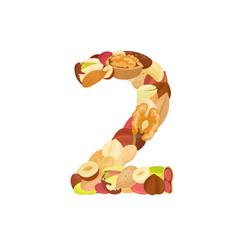 Delicious number made from different nuts two vector