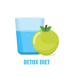 detox diet concept water and green apple vector image
